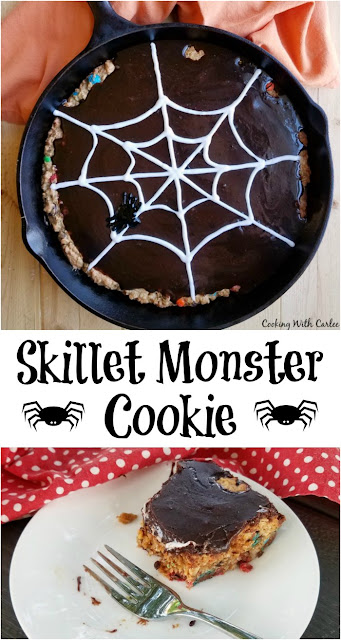 One of our all time favorite cookies, a monster cookie is taken to epic proportions and baked in a skillet. With crisp edges and a chewy center ever piece has the best of both worlds. Rich fudge frosting and a cute spider web take it to the next level!