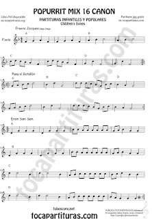 Partitura de Flauta Travesera, flauta dulce y flauta de pico Popurrí Mix 16 Partituras de Freere Jacques, Pasa el Batallón, Eram Sam Sam Sheet Music for Flute and Recorder Music Score