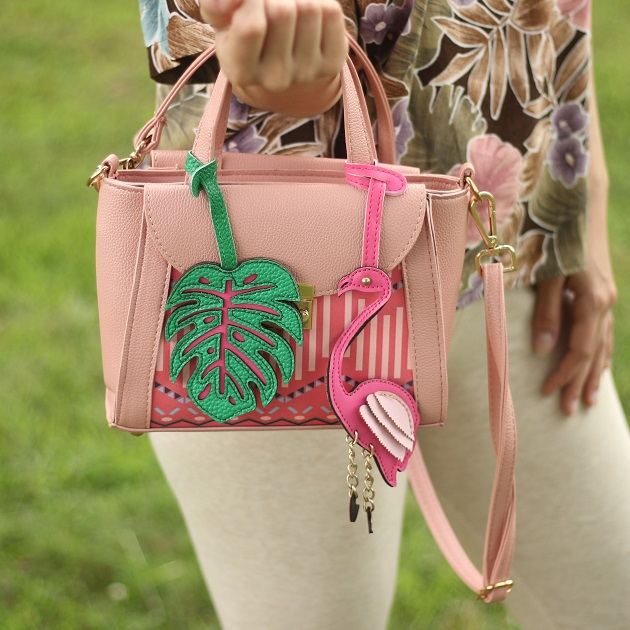 Monstera Leaf and Flamingo Handbag