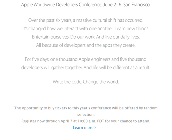 Apple WWDC 2014 Welcome Note