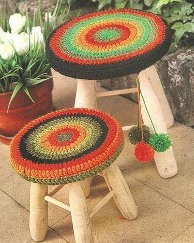 Patrón #1296: Fundas para Banquitos a Crochet