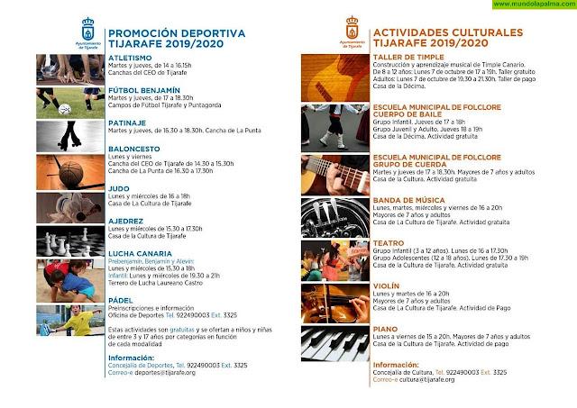 Tijarafe pone en marcha el programa de actividades culturales y deportivas