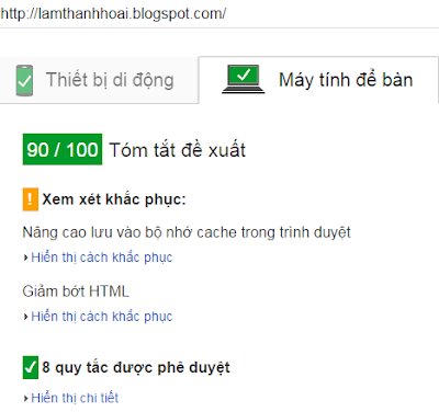 Chỉ số PageSpeed Insight của lamthanhhoai.blogspot.com