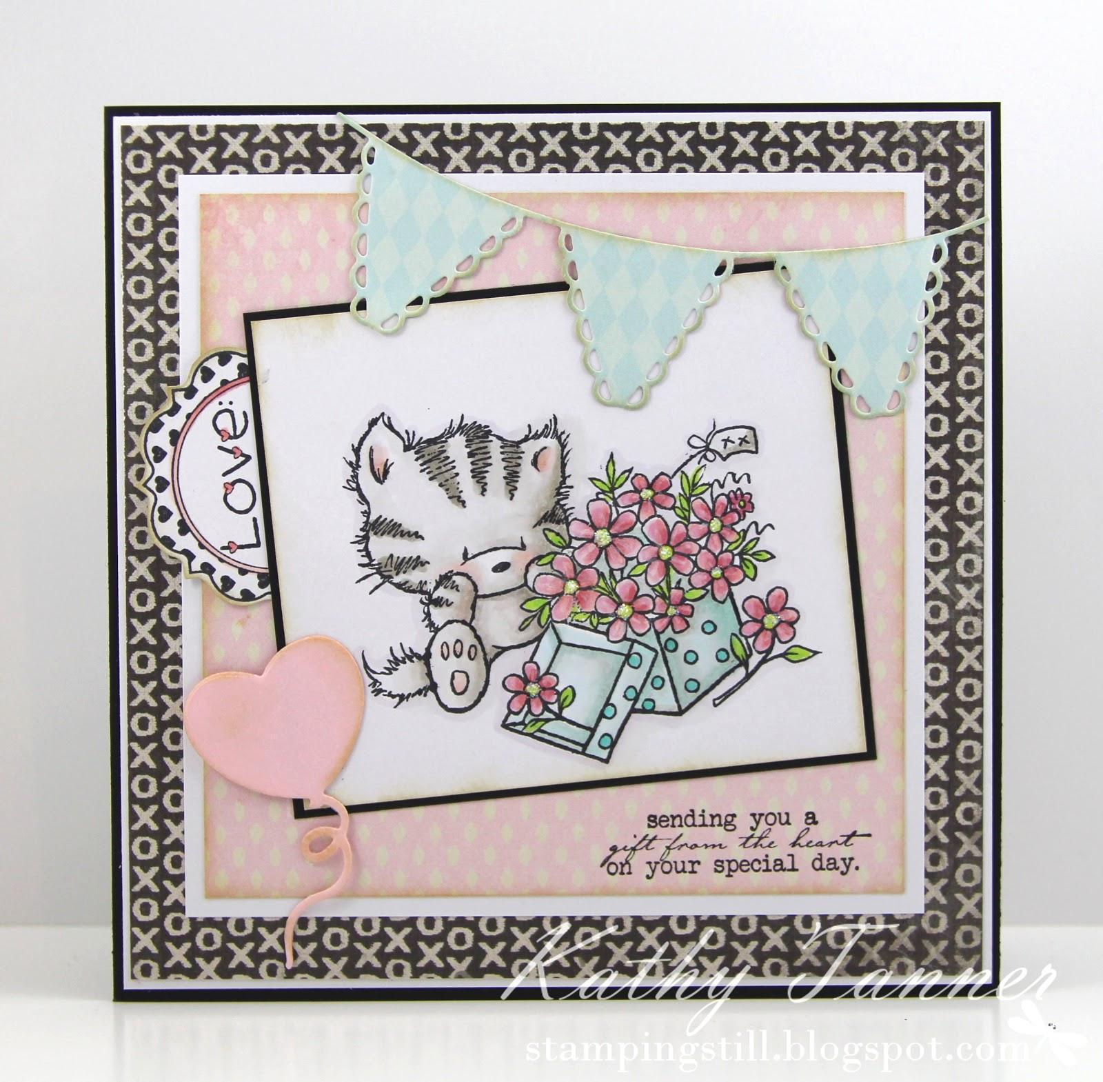 elsie with daisies, wild rose studio, definitions notables 7, whimsy stamps, frilly banner die, cc designs, copics