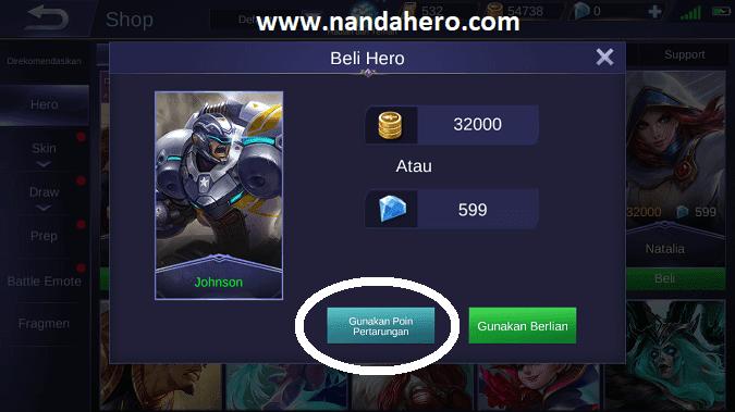 beli hero mobile legends dengan point battle tiket diamond pulsa