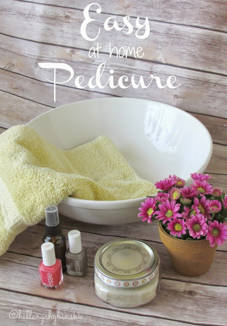 Easy Steps for Giving Yourself an Easy DIY Pedicure at home, use supplies you have at home, like oil, sugar and essential oils.