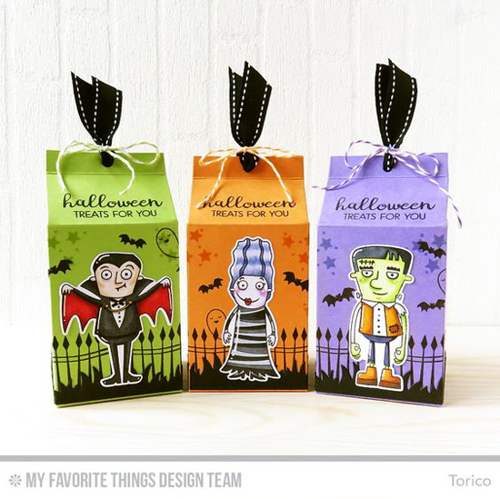 Handmade Halloween treat boxes from Torico featuring Lisa Johnson Designs Spooky Sweets and Frightfully Fun stamp sets and Frightful Friends stamp set and Die-namics  #mftstamps