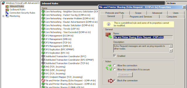 How to enable or disable Ping Service in Windows 2008/2012 R2