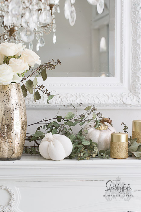 gold fall autumn mantel decorations