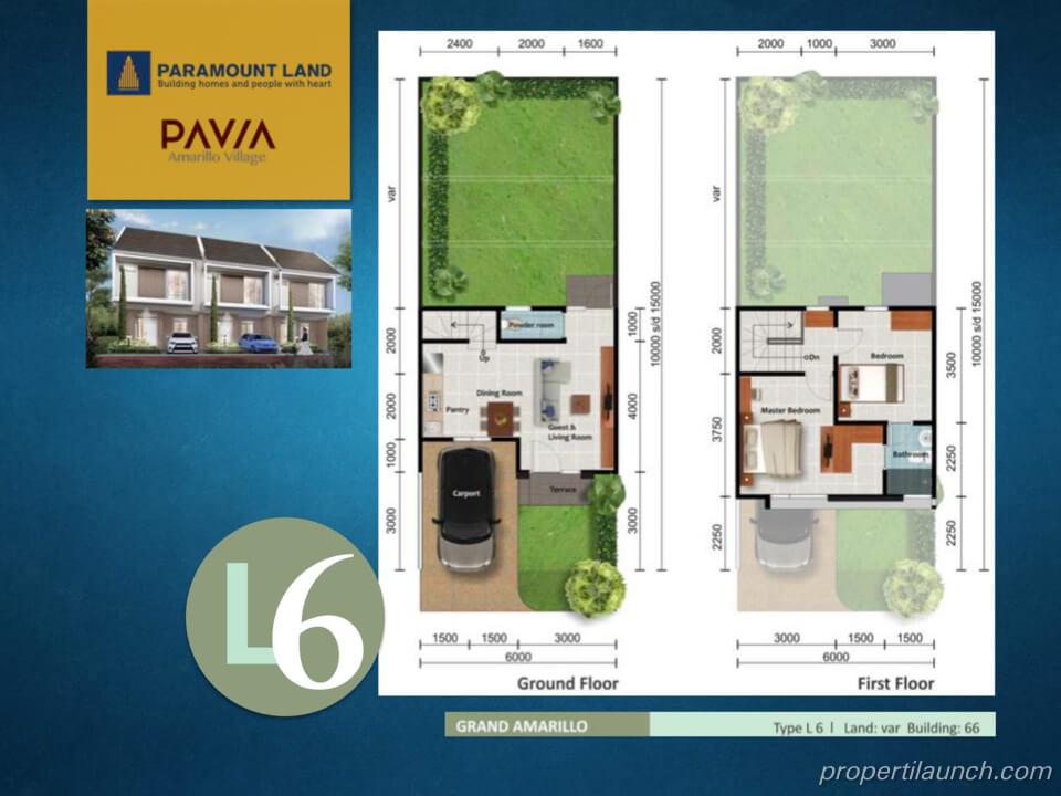 Denah Rumah Pavia Amarillo Village Tipe L6