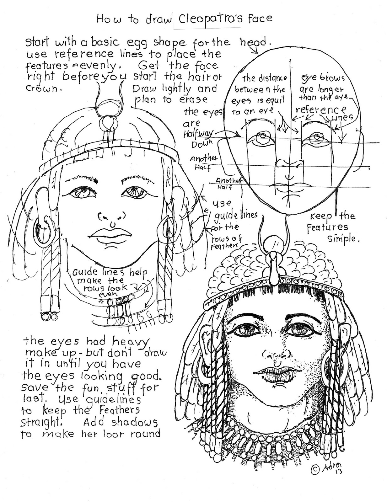 How To Draw Worksheets For The Young Artist Draw Cleopatra Queen Of Egypt Worksheet