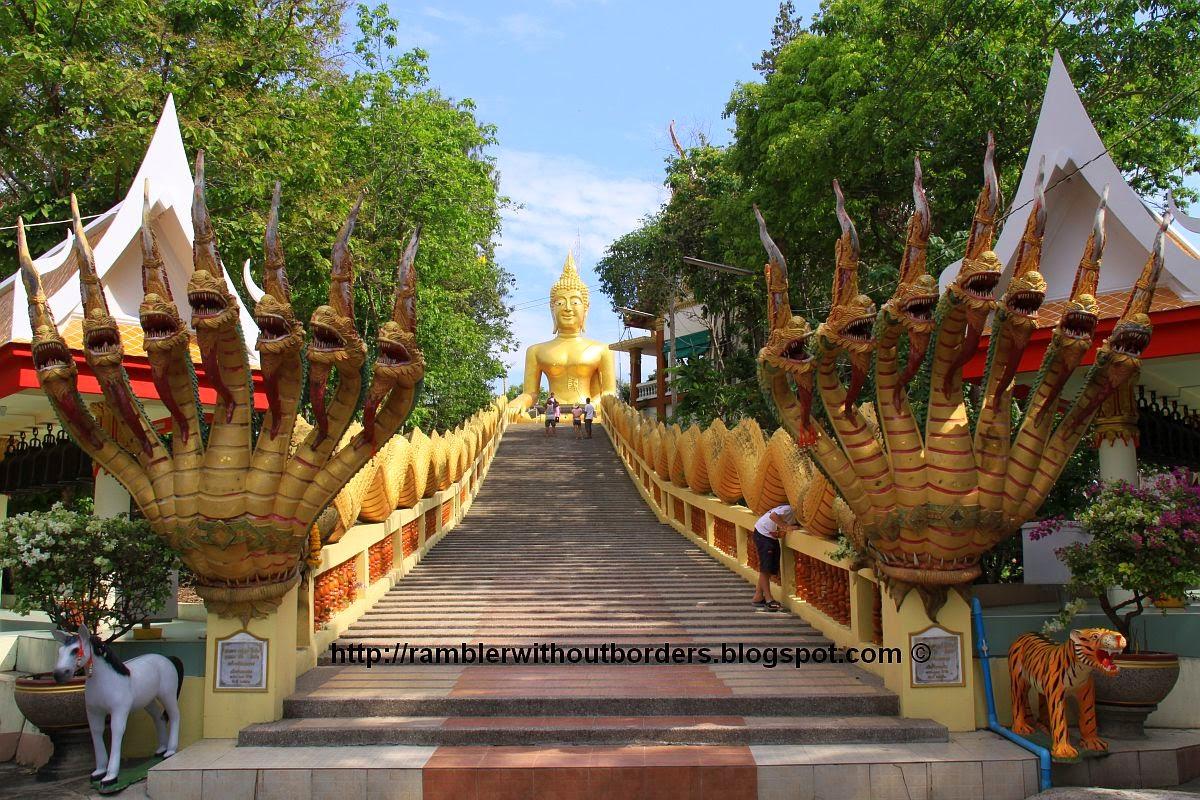 Staircase leading towards the Big Buddha in Wat Phra Khao Yai, Pattaya, Thailand