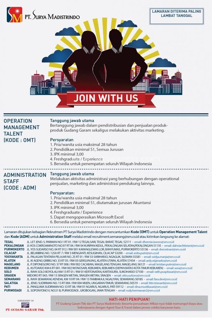 Lowongan Kerja Operation Management dan Staf Admin PT Surya Madistrindo