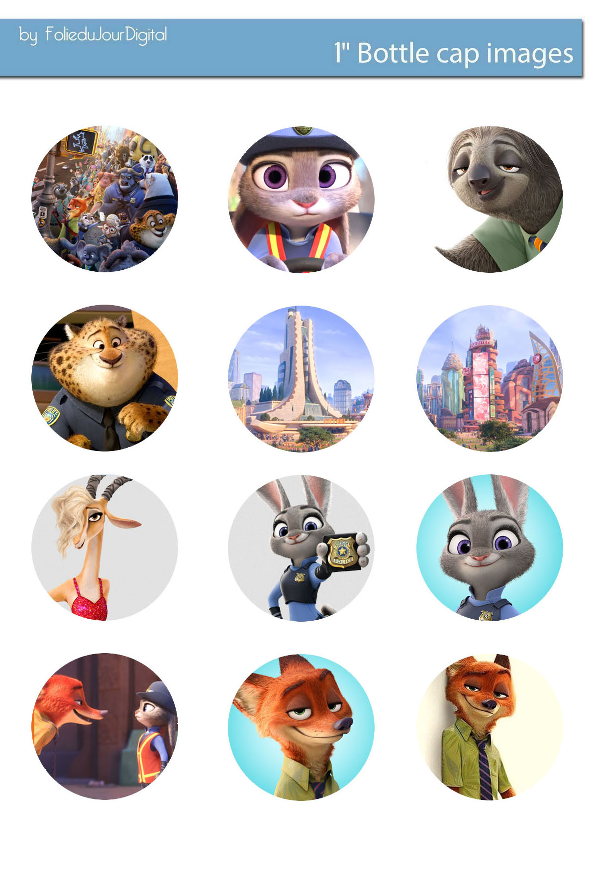 Zootopia Free Bottle Cap Images