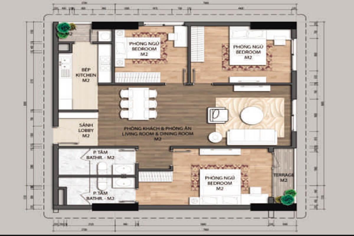 Mặt bằng căn hộ D1-4 phòng ngủ – 134.4m2