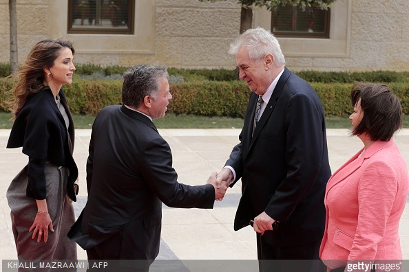 King Abdullah II of Jordan and Queen Rania of Jordan receive President of the Czech Republic Milos Zeman