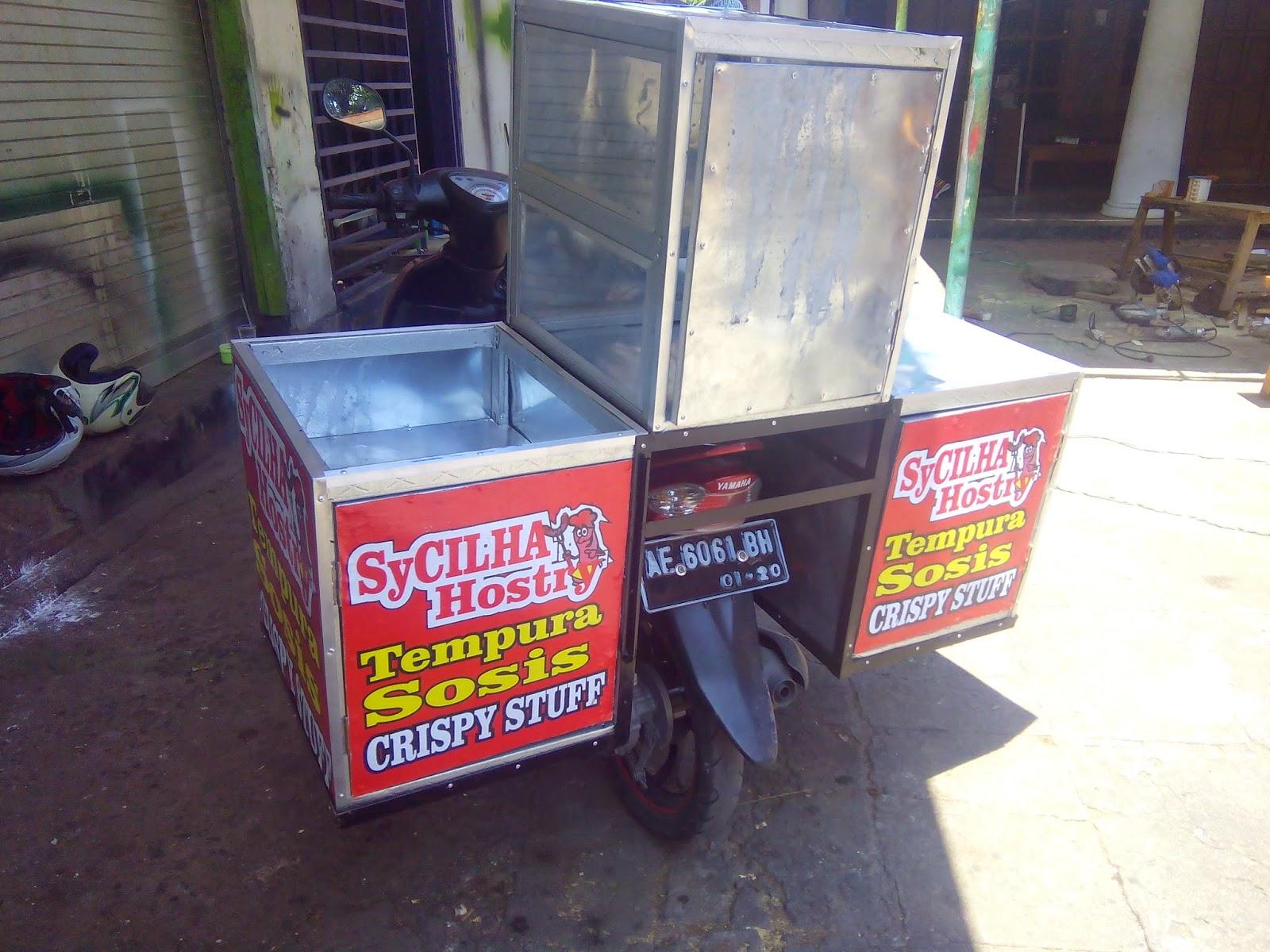 Rombong Grobak Gerobak 3d Rombong Motor Tempura Gambar gerobak motor