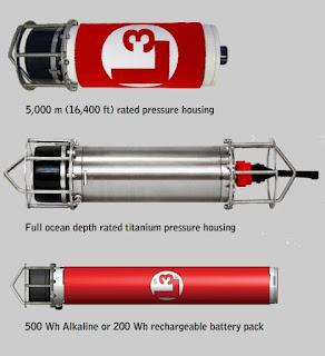 GPM 300 в корпусе, выдерживающем давление на глубине 5000 м (16400 ft). GPM 300 в корпусе из титана, выдерживающем давление океанских глубин. GPM 300 с перезаряжаемой аккумуляторной батарей с емкостью 200 А*ч или щелочноей батареей с емкостью 500 А*ч.