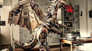kerajinan tangan dari koran bekas, Godzilla