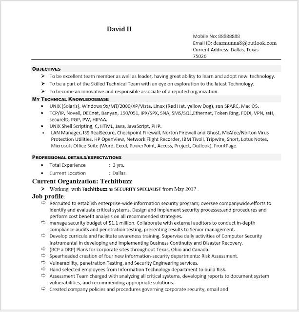 Resume sample for information technology