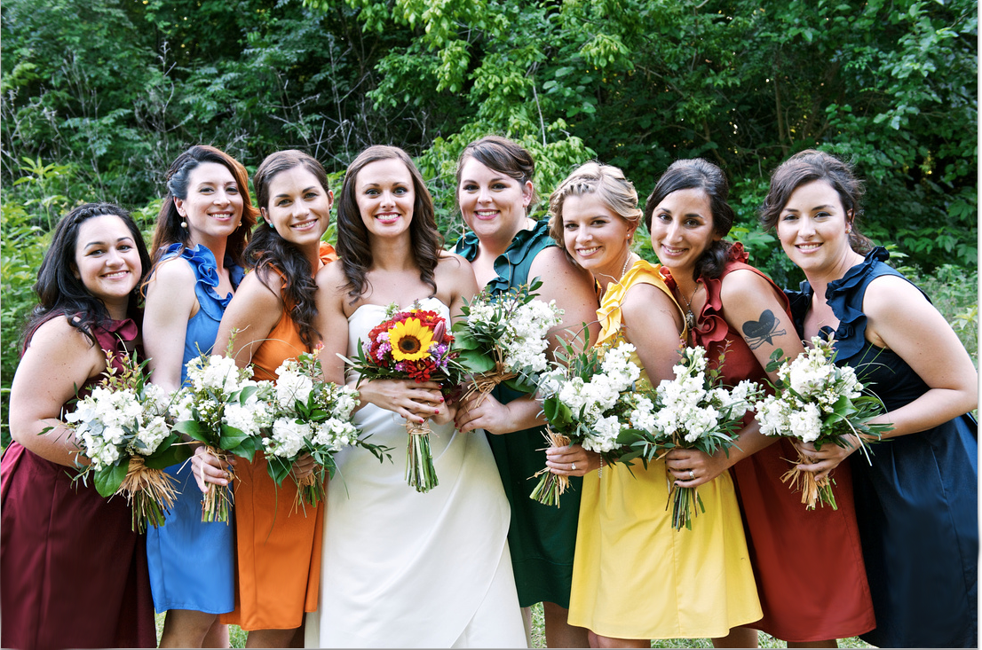 Real Weddings By Color: Independent Designer: Real Wedding: 7 Bridesmaids Dresses
