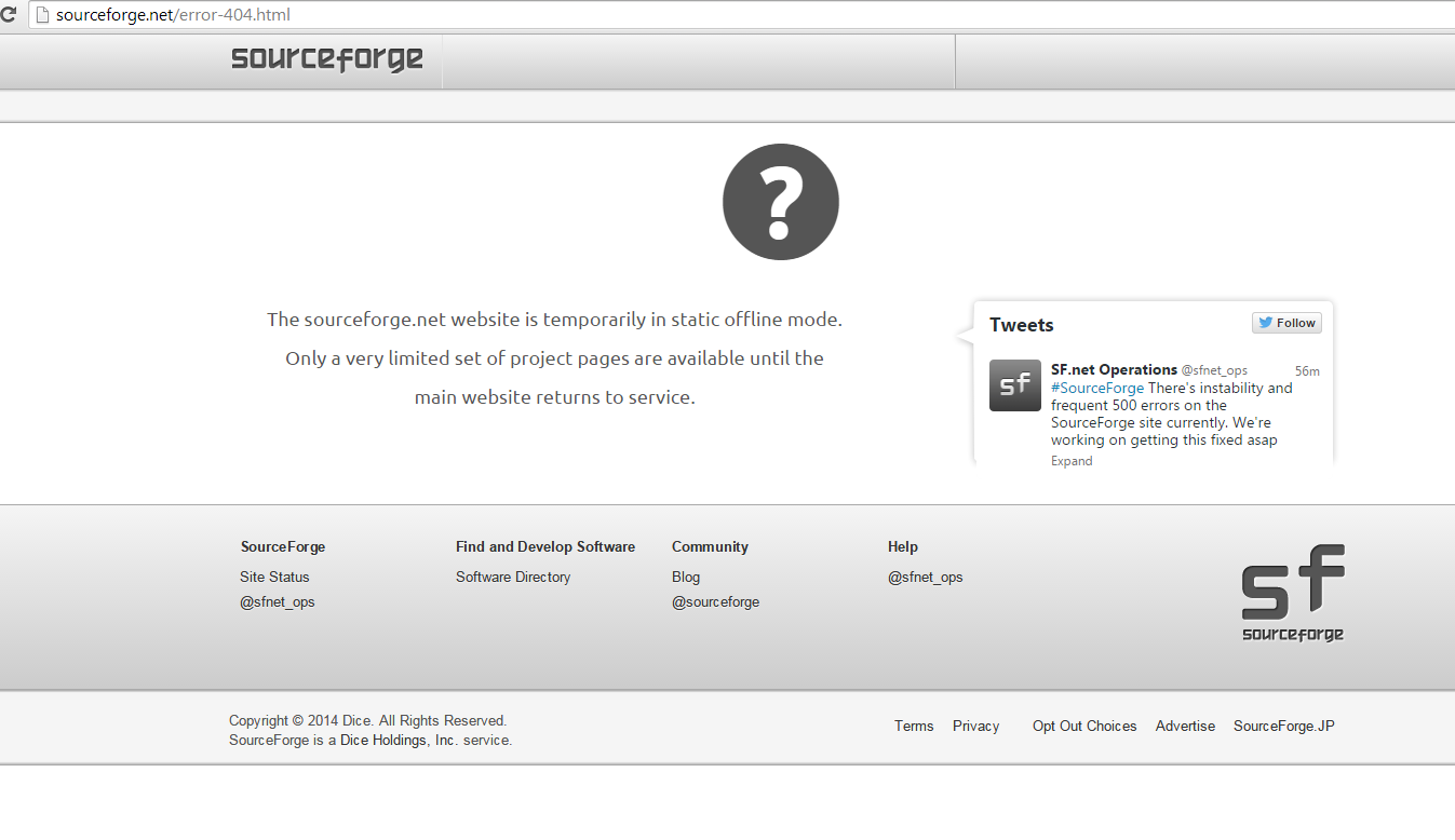 Sourceforge è Down