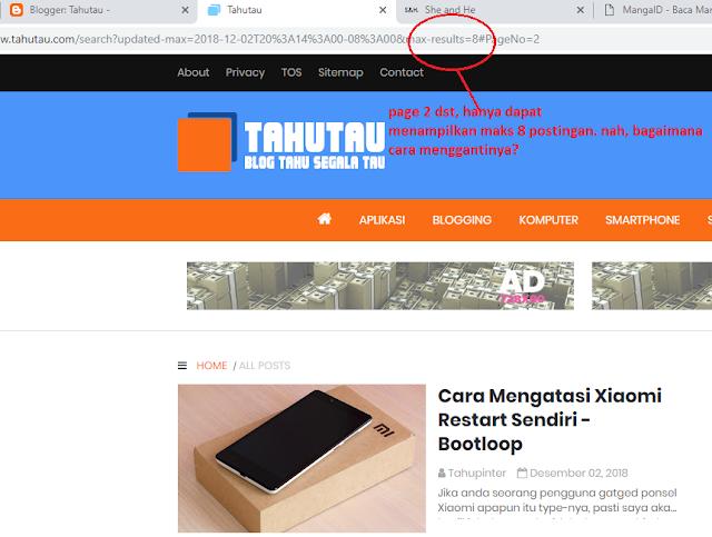 Mengatur Jumlah Posting Artikel atau Max Result Halaman Blogspot