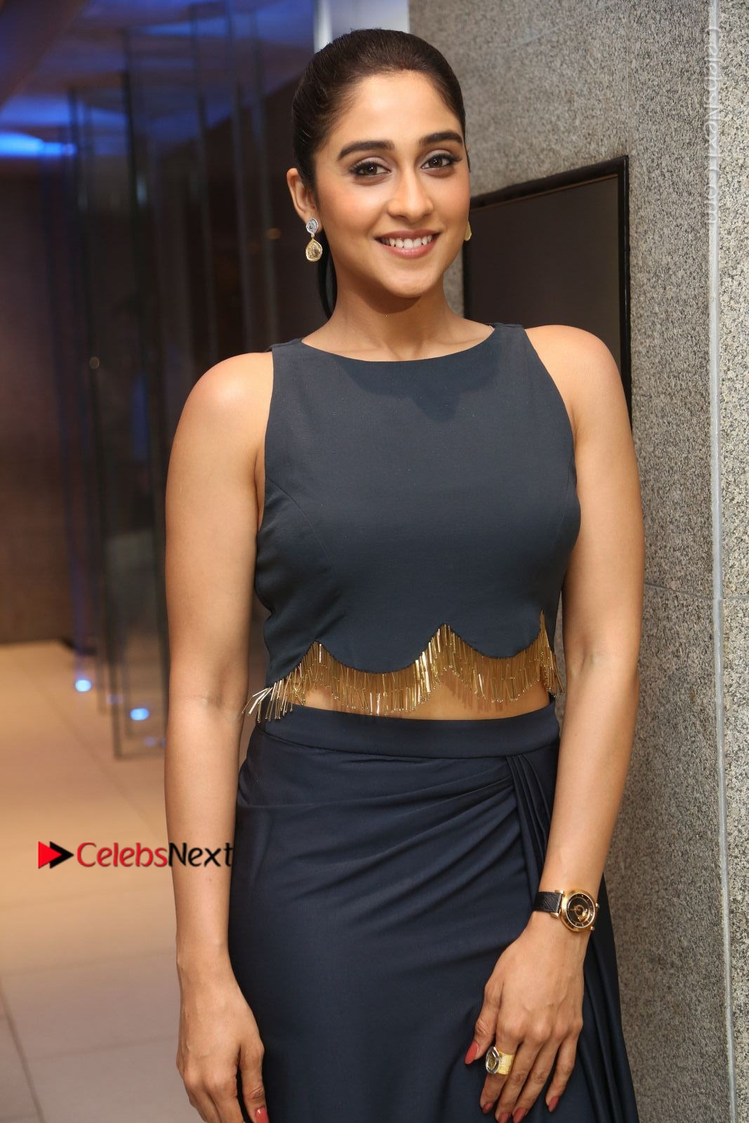 Regina Cassandra in Sleeveless Black Top and Long Skirt at Nagram movie Sucess Meet - 14th March 2017