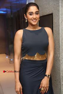 Actress Regina Candra Stills in Beautiful Blue Long Dress at Nagaram Success Meet  0112.JPG