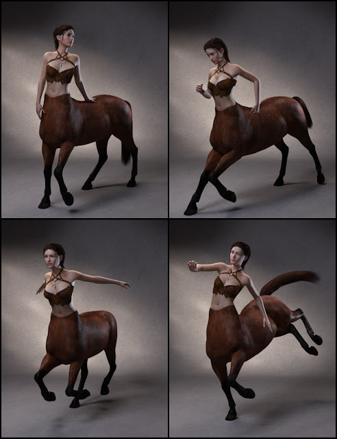 Quixotry's Poses for Centaur 7 Male and Female
