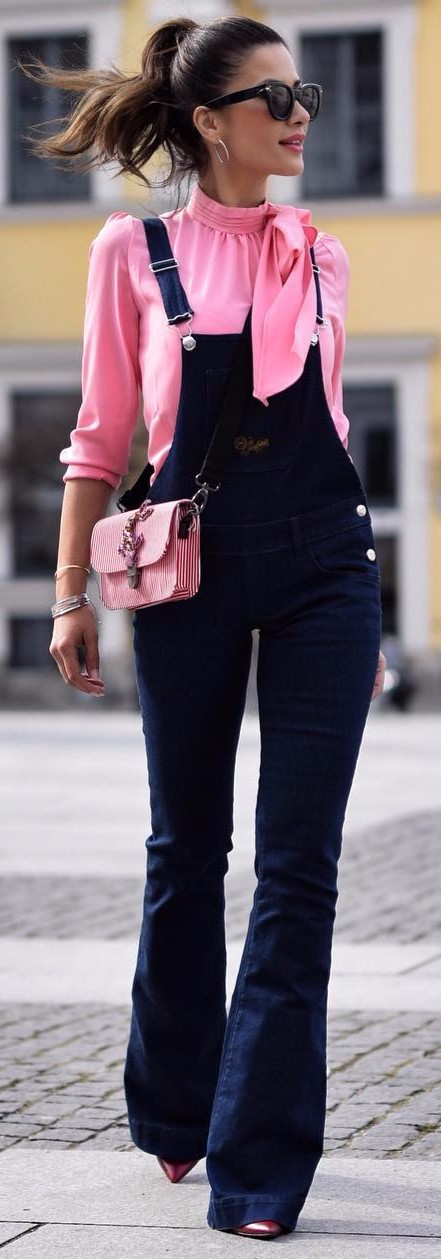 how to wear wide legs overall with a pink blouse and feel amazing