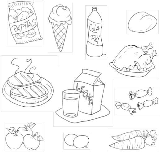 Alimentos Nutritivos Y No Nutritivospara Colorear Imagui