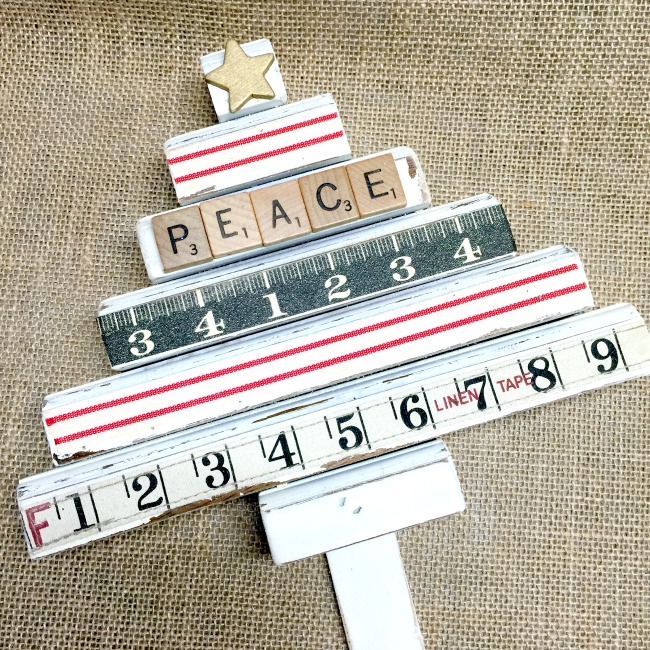 White painted Christmas tree with scrap wood and Rulers