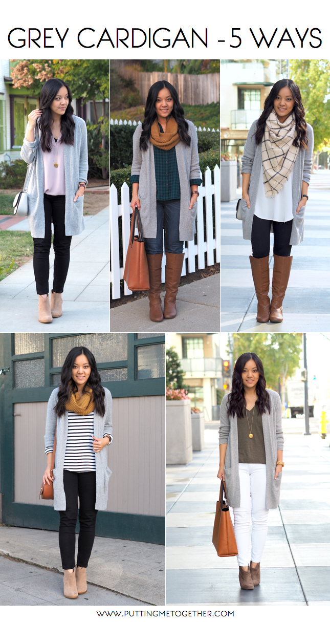 Outfits With a Grey Cardigan