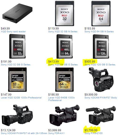 cainKuri: From HD to 4K via Sony PXW-Z100, Memory Cards XQD