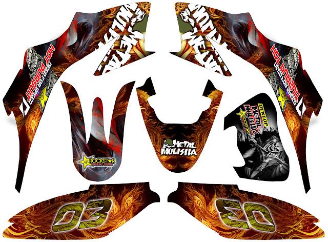 Fire phoenix decals for honda xrm dual sport black