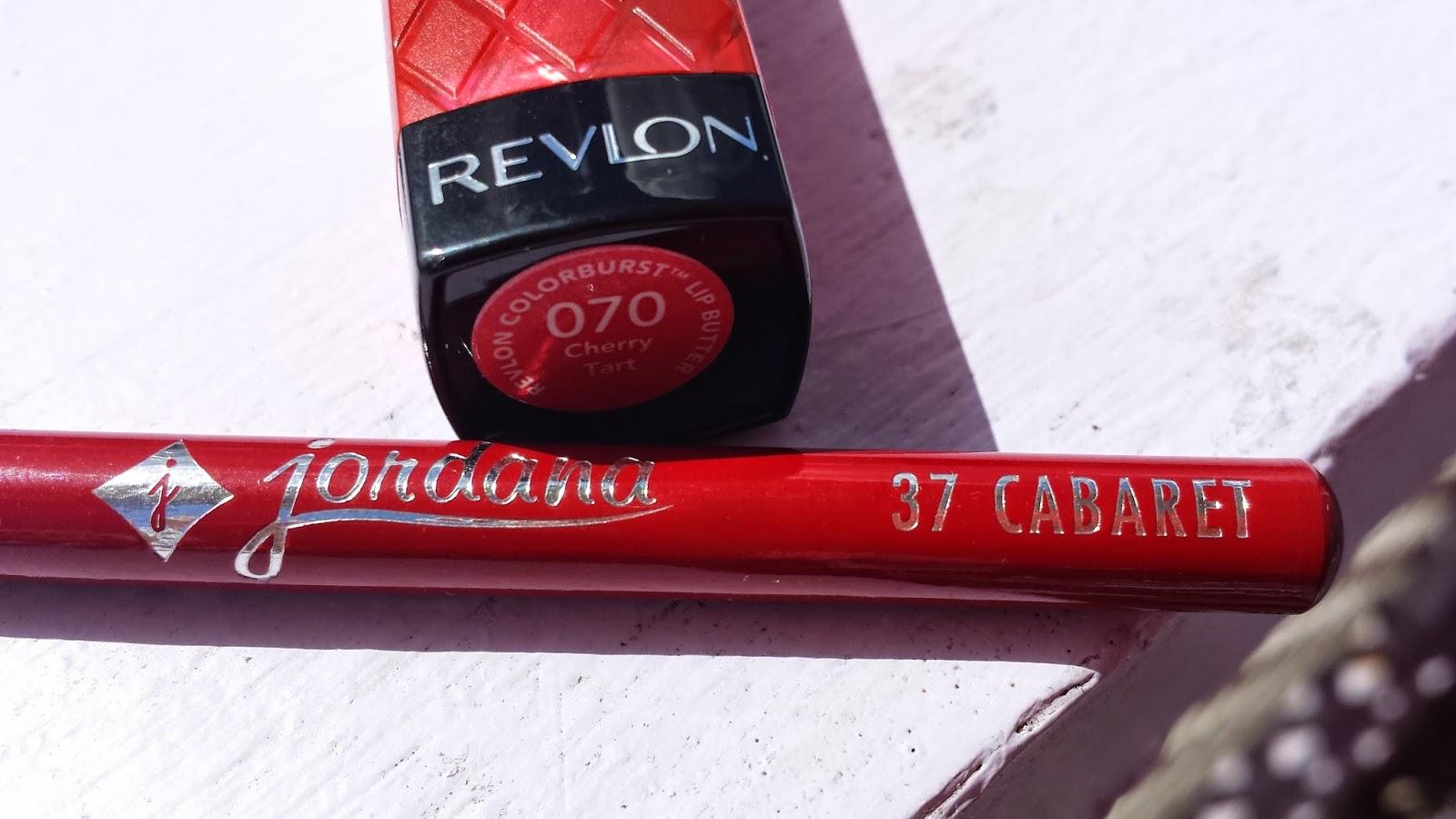 Revlon Lip Butter 'Cherry Tart' and Jordana Lipliner 'Cabaret'- www.modenmakeup.com