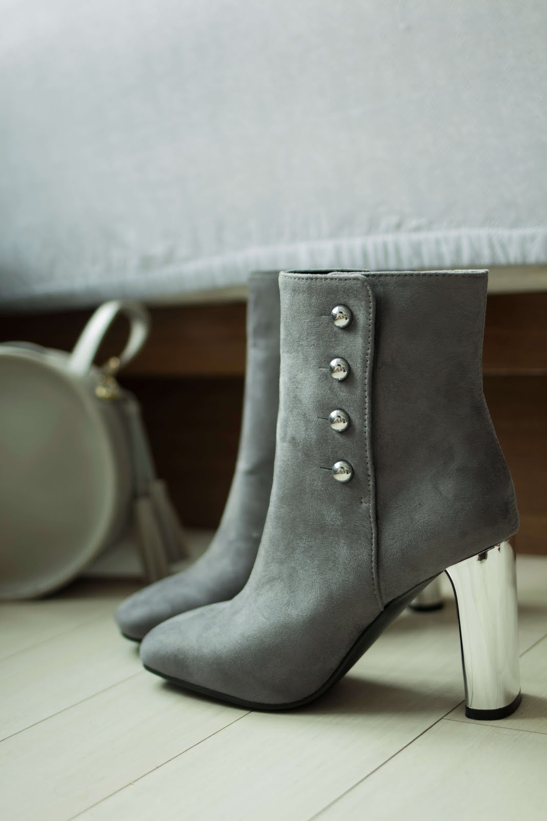 grey suedette ankle boots mirror statement heel