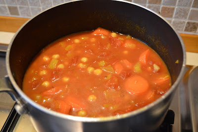 Chickpea curry cooking