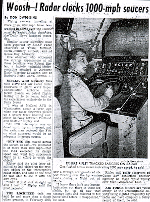 Woosh–! Radar Clocks 1000-MPH Saucers - Los Angeles News 11-3-1954