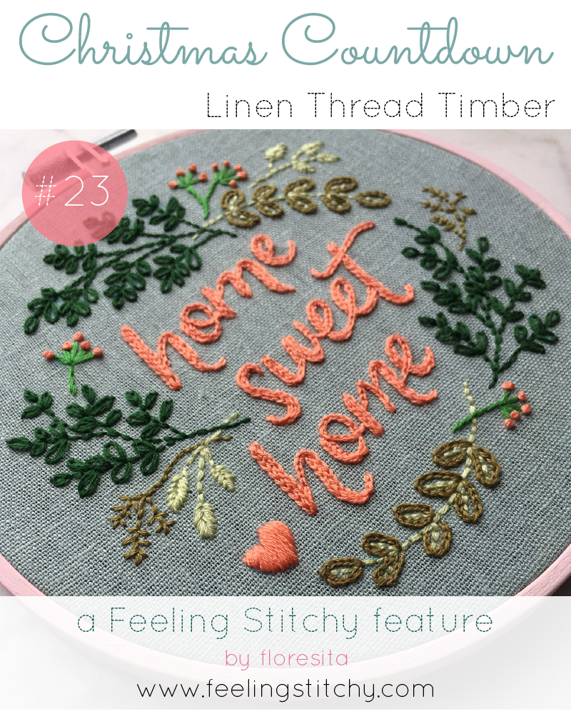 Christmas Countdown 23 - Linen Thread Timber Home Sweet Home pattern, featured on Feeling Stitchy by floresita