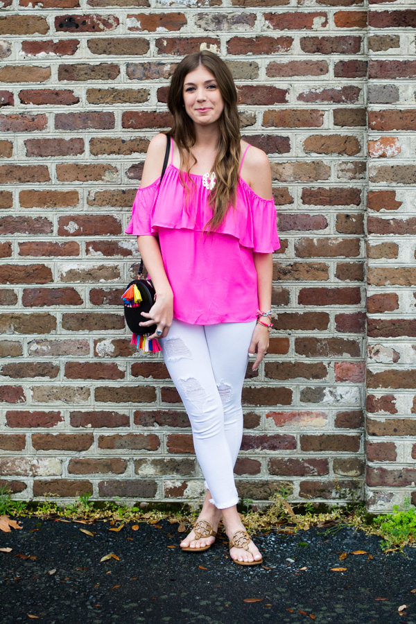 Cold Shoulder Top With Ruffles & Tassels by Charleston fashion blogger Kelsey of Chasing Cinderella