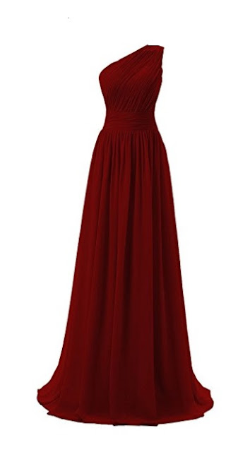 Long Burgundy One Shoulder Evening Dress- red prom dress