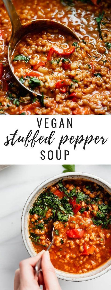 Easy Vegan Stuffed Pepper Soup