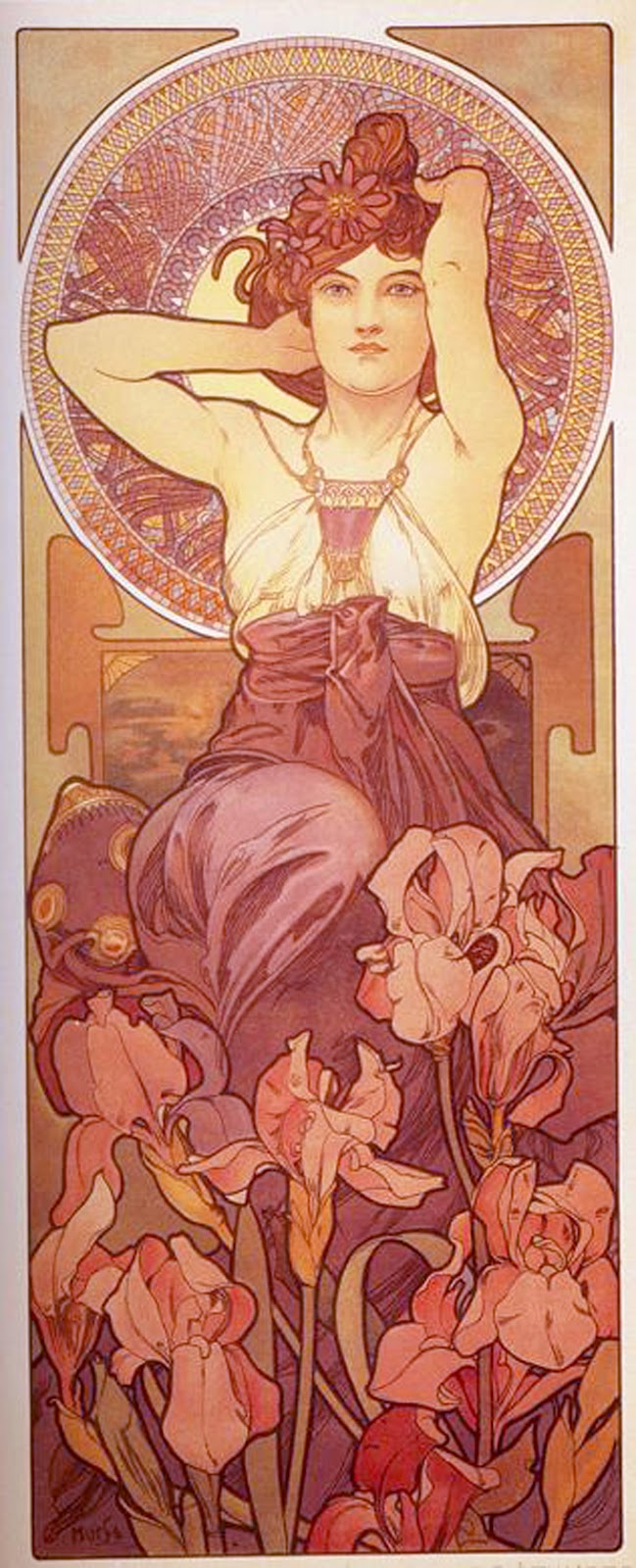 The best hearts are crunchy sitting in her garden pink saturday here is another wonderful piece of art by alphonse mucha a french artist one of those artists of old whos work seems to have influenced an entire age of altavistaventures Image collections
