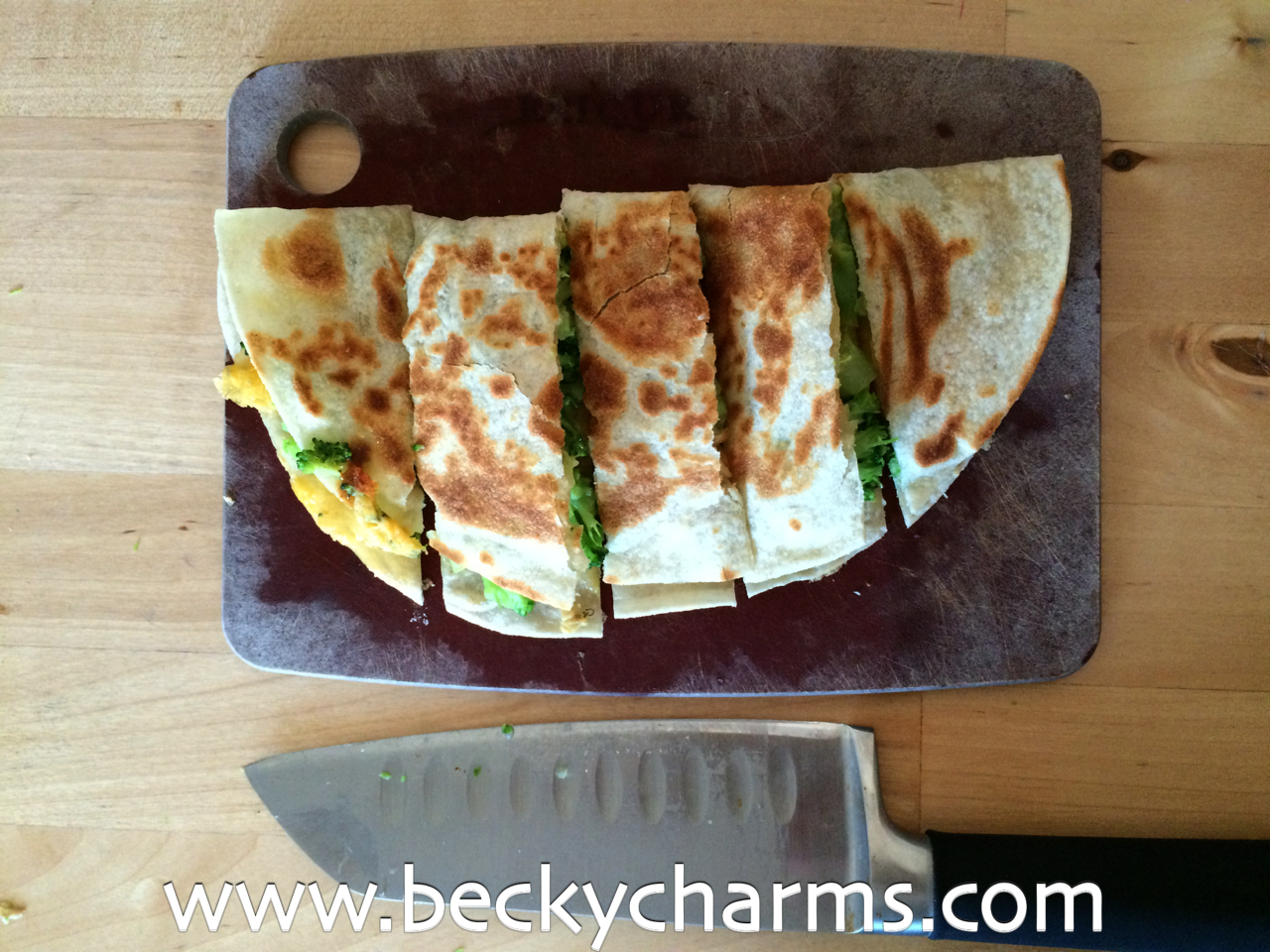 Cheddar Broccoli Vegetarian Quesadilla : The Fancy Quesadilla Series by BeckyCharms