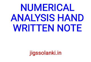 NUMERICAL ANALYSIS HAND WRITTEN NOTE