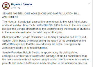 JAMB Result Validity Extended to 3 years by the Senate