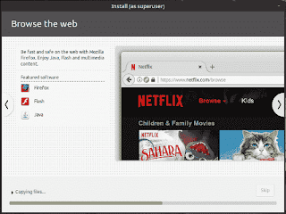LinuxMint19 Tara installation slide show browse the web