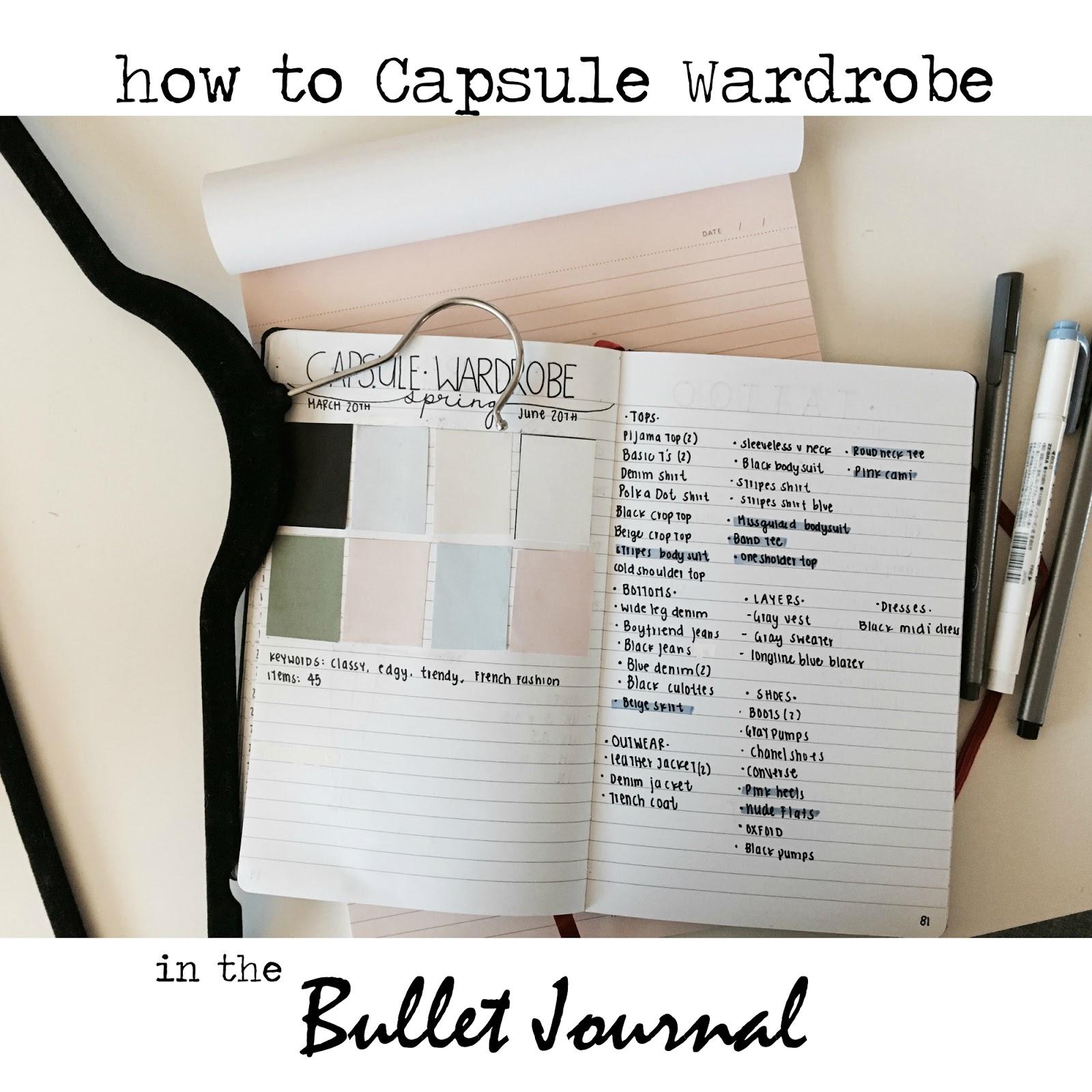HOW I CAPSULE WARDROBE IN MY BULLET JOURNAL| SPRING 2017 ...